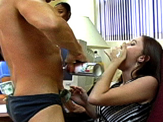 Horny girl gets her faced jizzed on.